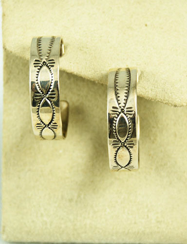 Vintage Sterling Silver Stamped Hoop Earrings Signed LJ