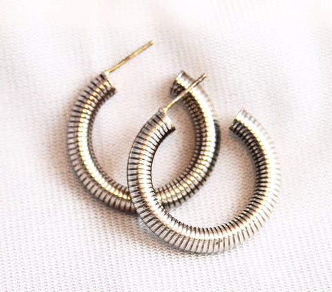 Sterling Silver Spiral Hoop Earrings Vintage