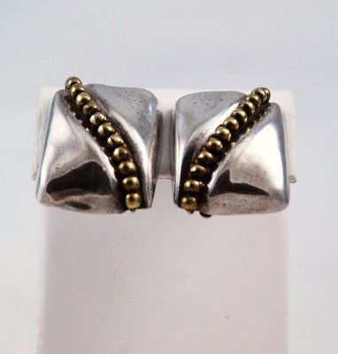 Sterling & Brass Taxco Mexican Clip On Earrings