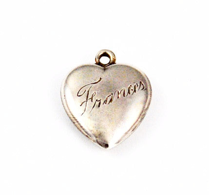 Sterling Hand Engraved Frances Heart Charm
