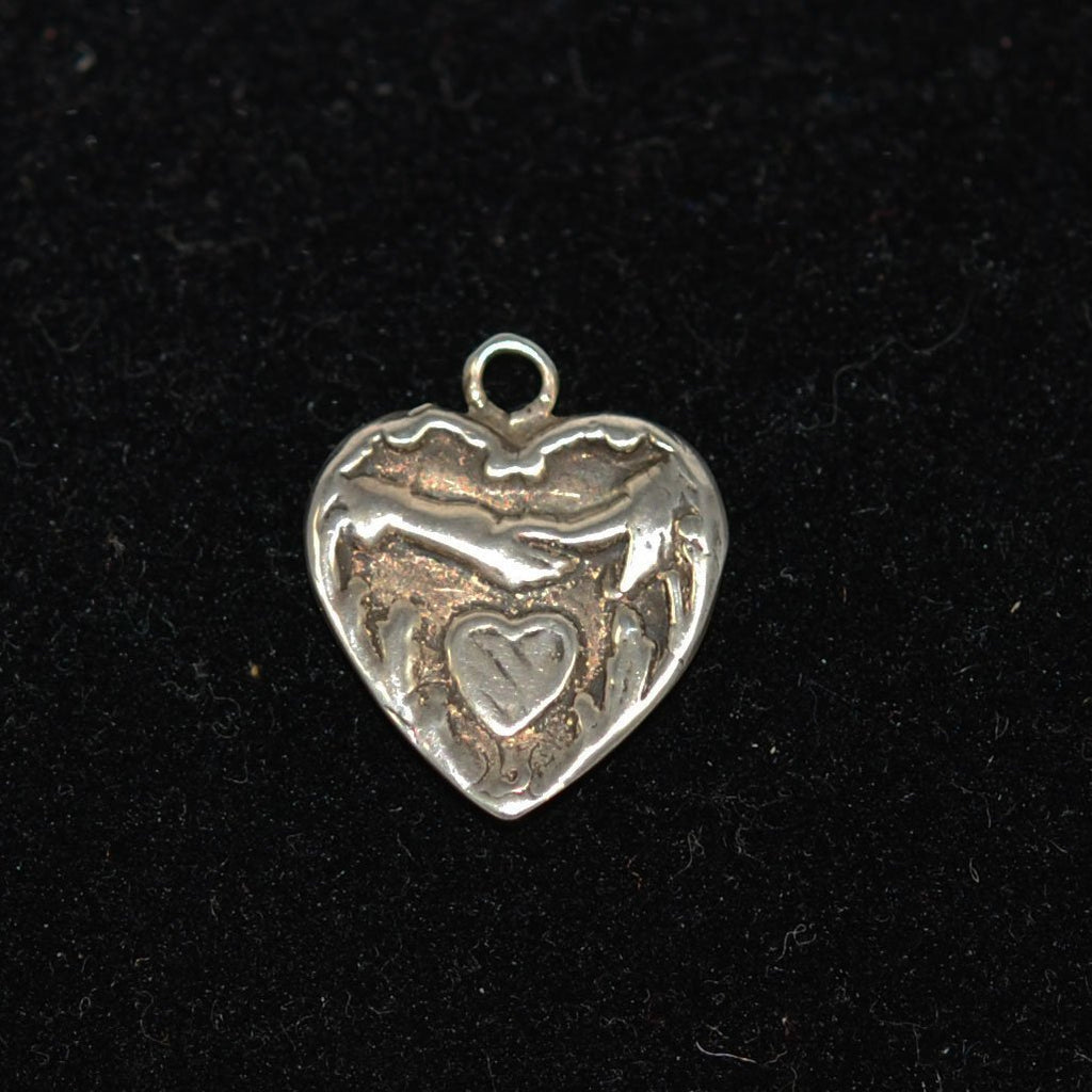 Sterling Heart Charm With Clasped Hands Vintage