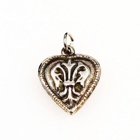 Sterling Puffy Heart Charm With Fleur de Lis Vintage
