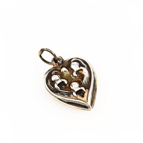 Sterling Lily of the Valley Heart Charm Vintage