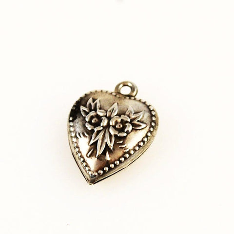 Sterling Heart Charm - Forget Me Nots Vintage