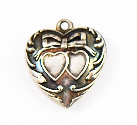 Victorian Sterling Double Puffy Heart Charm