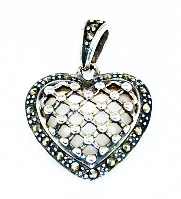 Sterling Marcasite and Mother of Pearl Heart Pendant