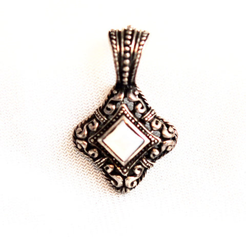Ornate Sterling Silver Mother of Pearl Pendant