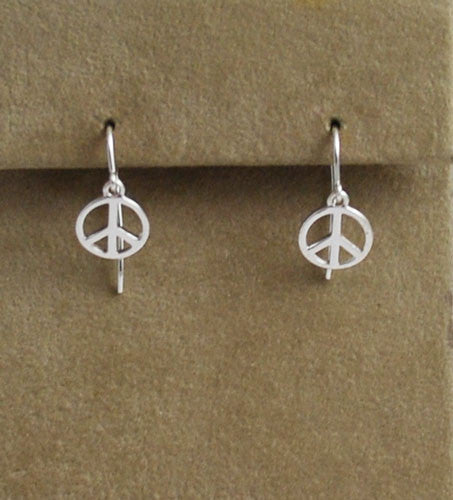 Sterling Silver Peace Sign Earrings  Vintage