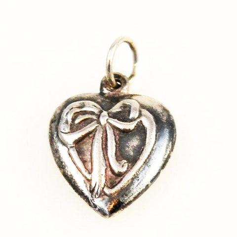 Sterling Puffy Heart Charm - Ribbon
