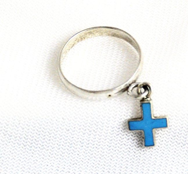 Sterling Turquoise Blue Cross Ring