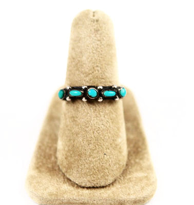 Turquoise Petit Point Native American Ring