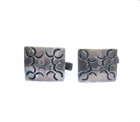 Native American Stamped Sterling Silver Cuff Links