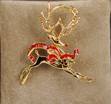 St. John Reindeer Holiday Brooch