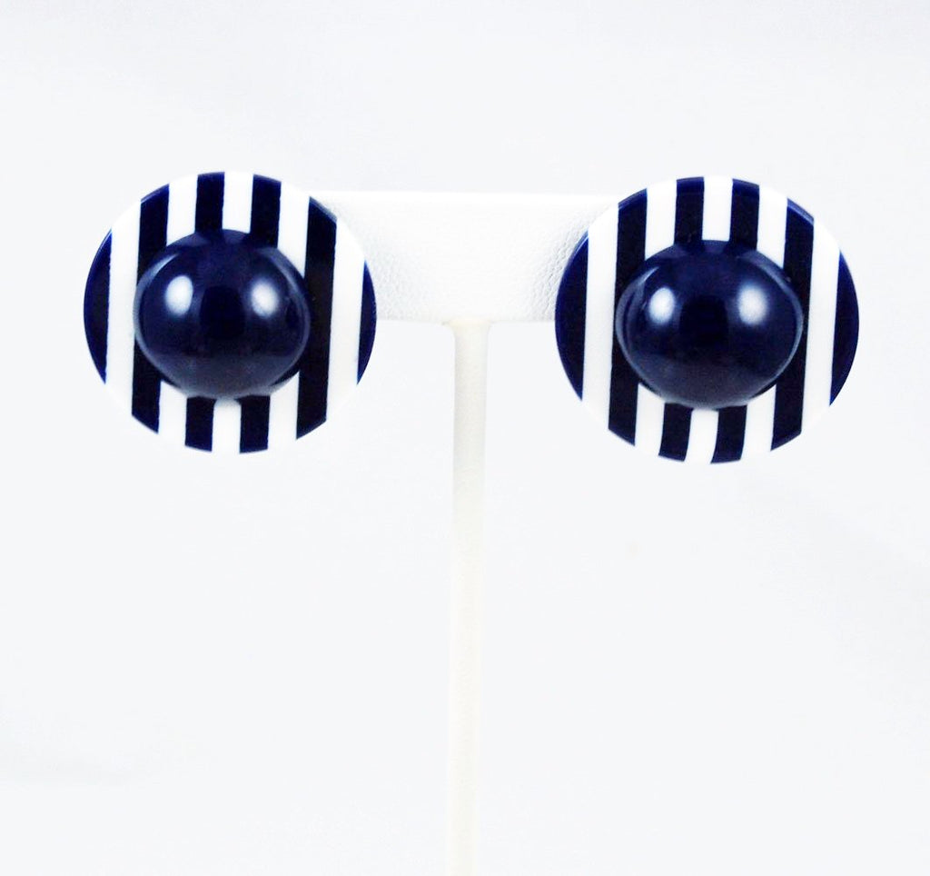 Navy Blue and White Striped Lucite Earrings