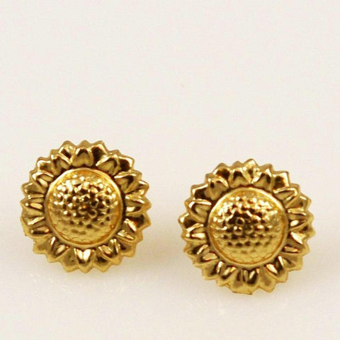 14K Gold Sunflower Earrings 3D
