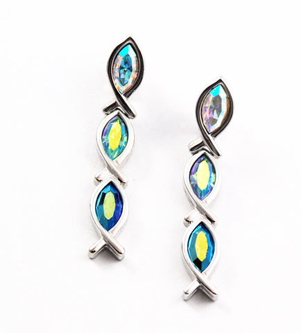Swarovski Crystal Dangle Fish Earrings - Signed