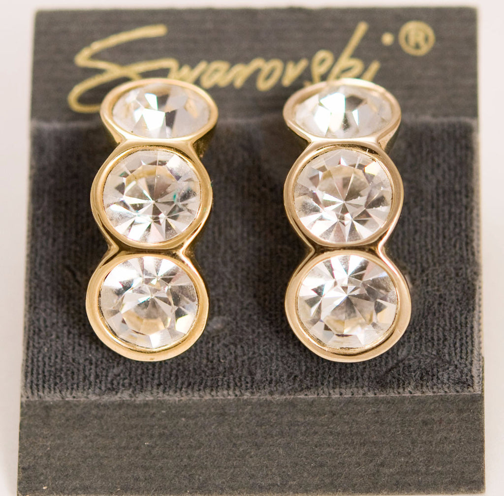 Swarovski Crystal Clip On Earrings - Signed Mint