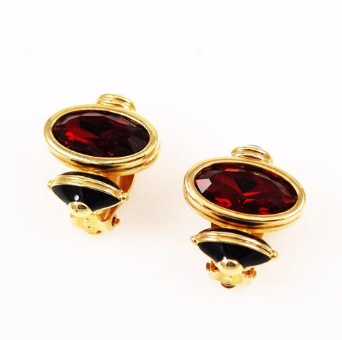 Swarovski Siam & Enamel Clip On Earrings