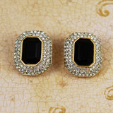 Swarovski Black Crystal Clip On Earrings - Signed