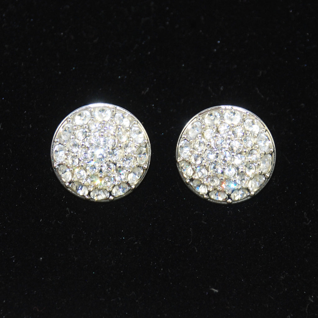 Swarovski Rhinestone Clip On Earrings Signed