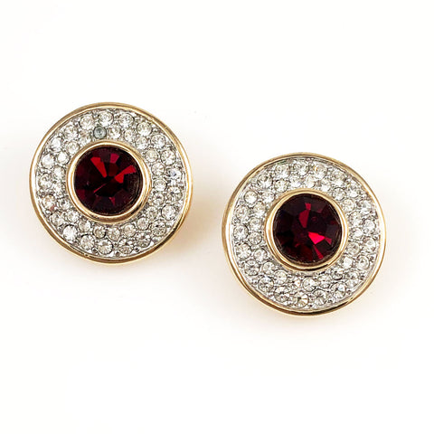 Swarovski Red Rhinestone Earrings - Signed Clip On Vintage