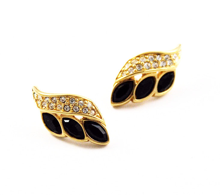 Swarovski Jet Pave Rhinestone Pierced Earrings - Signed  Vintage