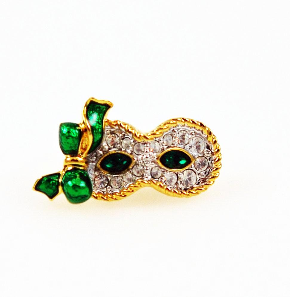 Swarovski Green Crystal Mask Pin - Signed