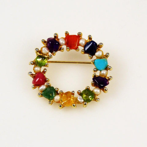 Swoboda Gemstone Wreath Pin Vintage