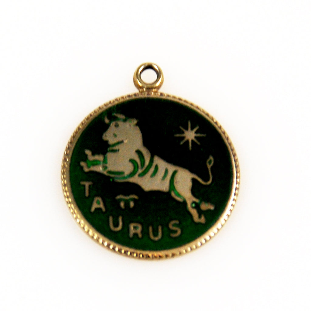 Taurus Sterling and Enamel Zodiac Charm