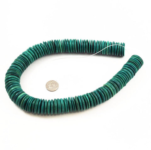 Teal Coco Disk Bead Strands 15 & 20mm