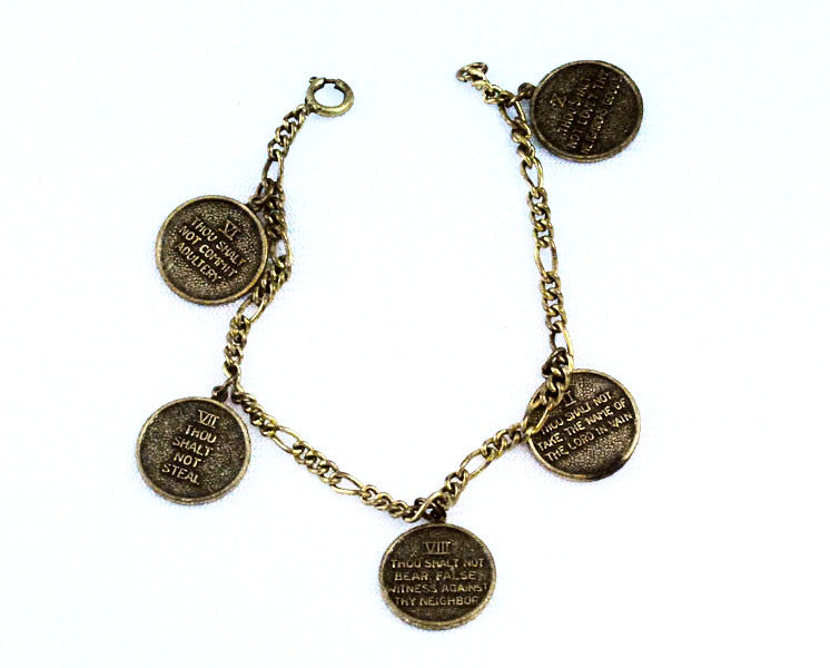 Ten Commandments Bronze Charm Bracelet