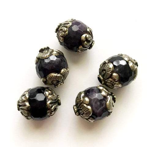 Tibetan Silver Capped Amethyst Beads