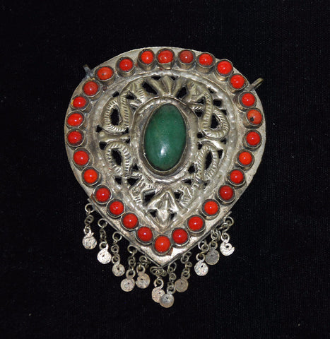 Antique Kashmiri Snake Pendant With Jade and Coral Large