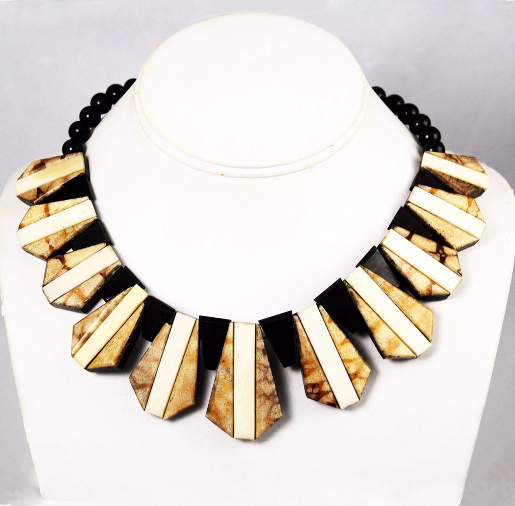 Tiger Coral & Black Onyx Collar Necklace