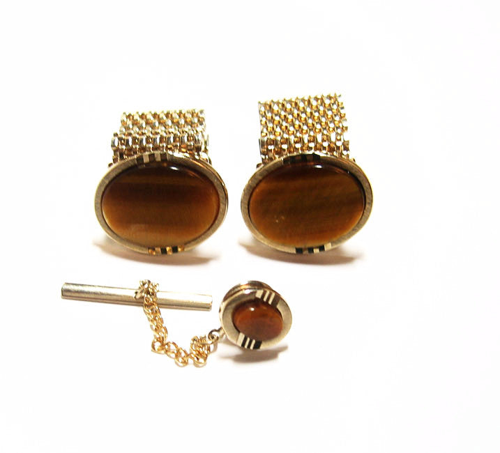 Tigers Eye Fold Over Cuff Link Set 1970's