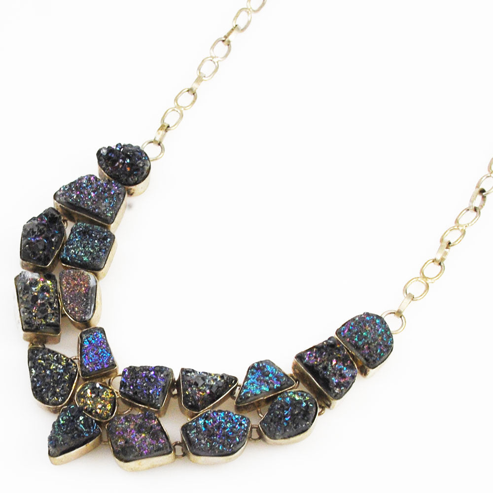 Titanium Druzy Cluster Sterling Necklace