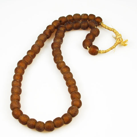 African Recycled Topaz Glass Beads Necklace