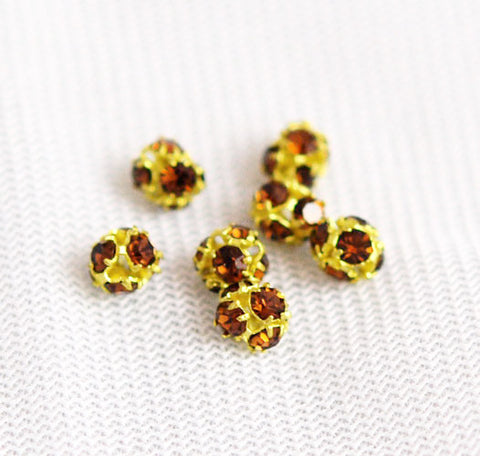 Gold Plated and Topaz Rhinestone Crystal Balls