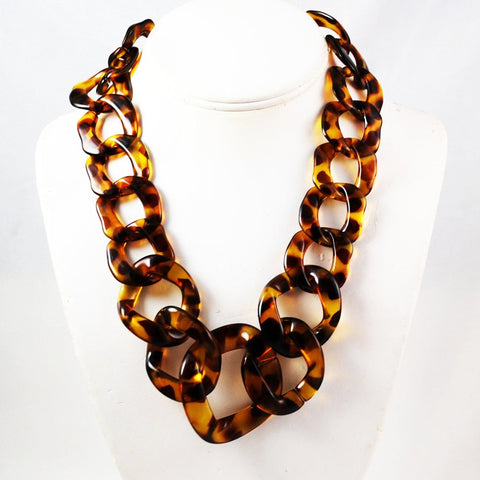 Tortoise Chain Lucite Necklace Vintage