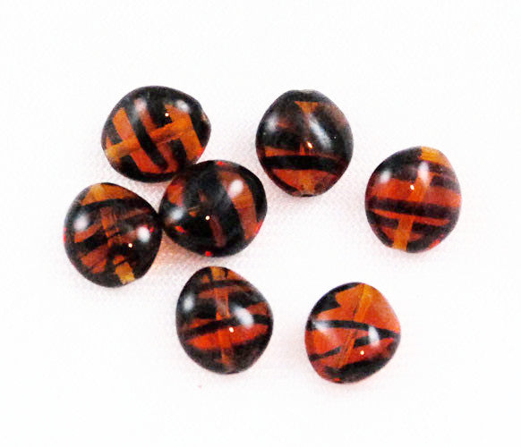 Japanese Flattened Tortoise Glass Beads