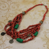 African Red Trade Bead Necklace