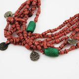 Red African Trade Bead & Coin Necklace