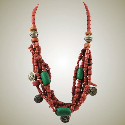 African Trade Bead & Berber Coin Necklace