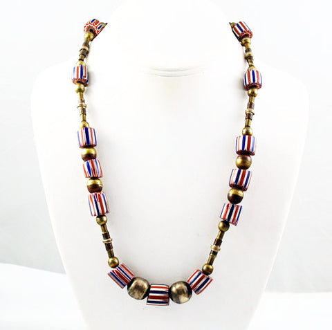 African Chevron Trade Bead & Brass Ethnic Necklace