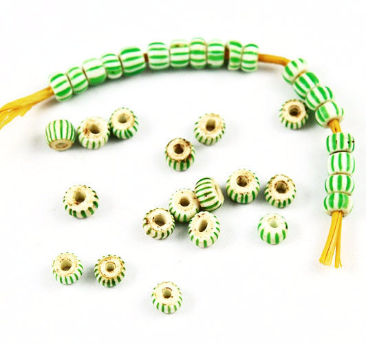Green & White Venetian Striped Awala Trade Beads 4mm