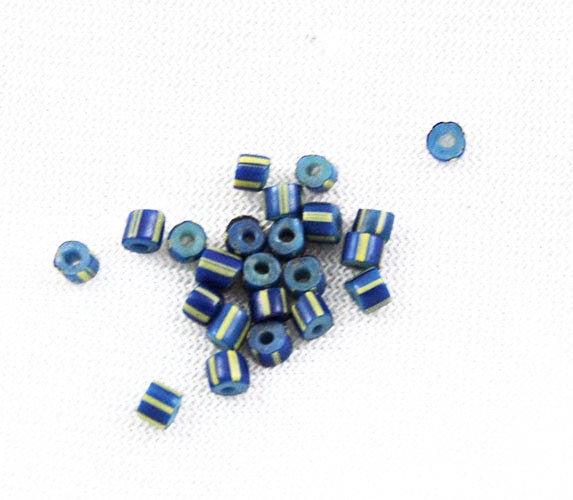 Blue & Yellow Venetian Striped Awala Trade Beads