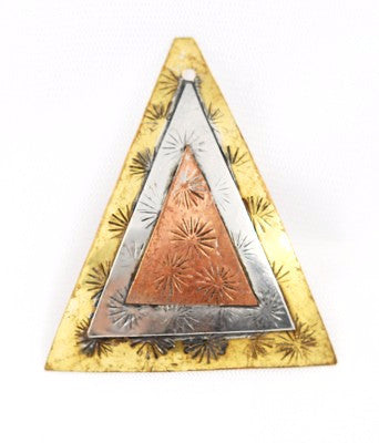 Tri-Metal Embossed Triangular Pendant