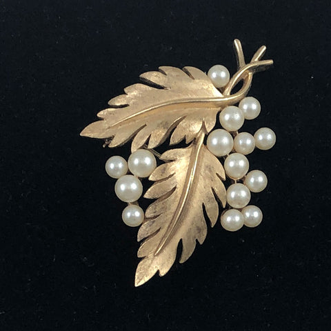 Crown Trifari gold pearl brooch