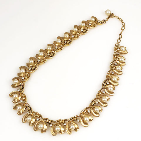 Trifari Gold & Rhinestone Necklace Vintage