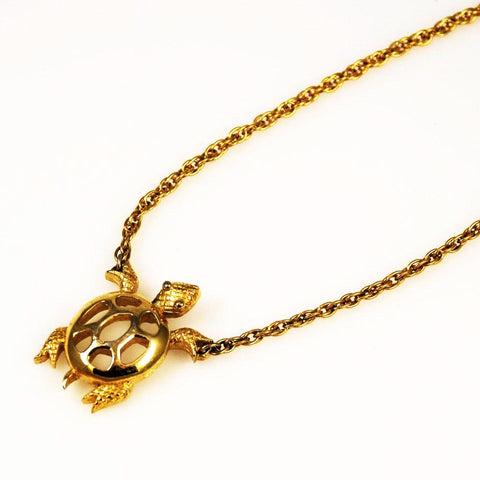 Trifari Gold Turtle Necklace Vintage